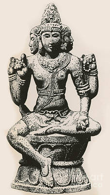 Religious Drawings Photograph - Brahma, Hindu God by Photo Researchers