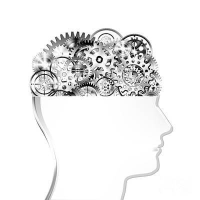 Industrial Icon Photograph - Brain Design By Cogs And Gears by Setsiri Silapasuwanchai