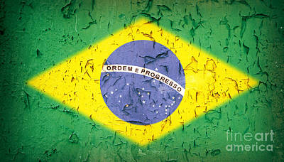Brazilian Photograph - Brazil Flag Vintage by Jane Rix