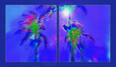 Latino Mixed Media - Brazilian Tropical Moonlight Diptych by Steve Ohlsen