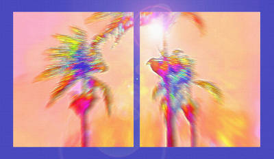 Latino Mixed Media - Brazilian Tropical Sunset Diptych by Steve Ohlsen