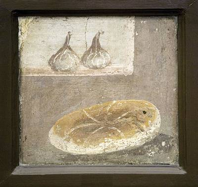 Bread And Figs, Roman Fresco Print by Sheila Terry