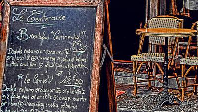 Breakfast In Paris Print by Tony Grider