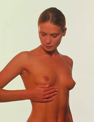 Self-examination Photograph - Breast Self-examination By A Woman by David Parker