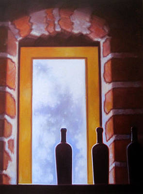 Glass Of Wine Painting - Brick By Brick by Penelope Moore