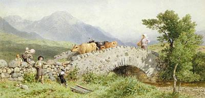 Mountain Stream Painting - Bridge Near Dalmally by Myles Birket Foster