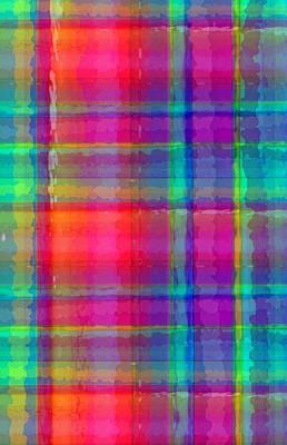 Loud Digital Art - Bright Plaid by Louisa Knight