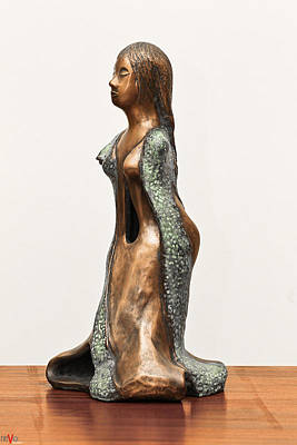 Green Sculpture - Bronze Hollow Lady In Gown Left View 3 Sculpture In Bronze And Copper Green Long Hair by Rachel Hershkovitz