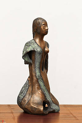 Bronze Hollow Lady In Gown Right View 2 Sculpture In Bronze And Copper Green Long Hair  Print by Rachel Hershkovitz