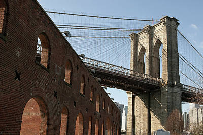 Brooklyn Bridge & Empire Fulton Ferry State Park Print by Just One Film