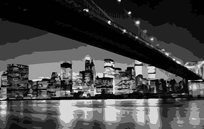 Brooklyn Bridge @ Night Bw8 Print by Scott Kelley
