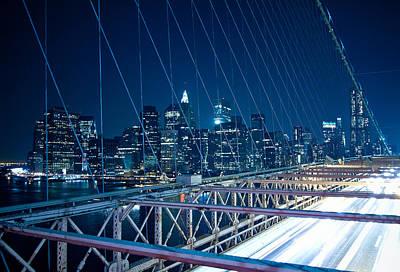 Brooklyn Bridge And Lower Manhattan By Night Print by Miemo Penttinen - miemo.net