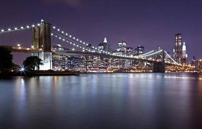Black Russian Studio Photograph - Brooklyn Bridge At Night 3 by Val Black Russian Tourchin