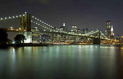 Black Russian Studio Photograph - Brooklyn Bridge At Night 4 by Val Black Russian Tourchin