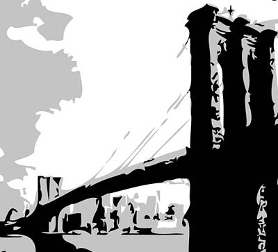 Brooklyn Bridge Bw Print by Scott Kelley