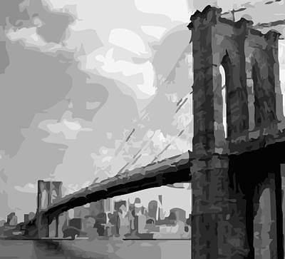 Brooklyn Bridge Bw16 Print by Scott Kelley