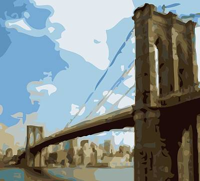 Brooklyn Bridge Color 16 Print by Scott Kelley