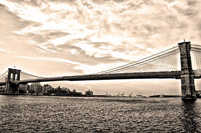 Nyc Digital Art - Brooklyn Bridge In Sepia by Bill Cannon