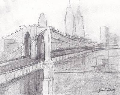 Brooklyn Bridge Drawing - Brooklyn Bridge by Janel Bragg