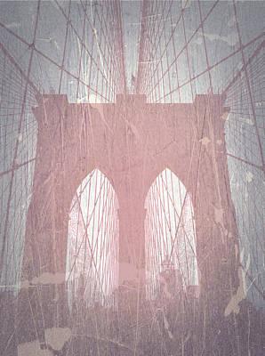 Brooklyn Bridge Digital Art - Brooklyn Bridge Red by Naxart Studio