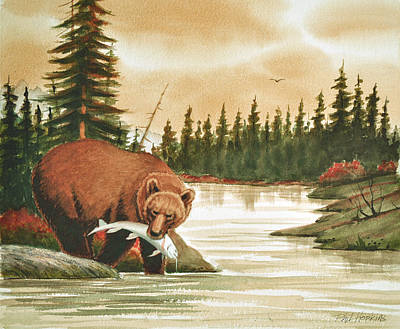 Phil Hopkins Painting - Brown Bear Catching Salmon by Phil Hopkins