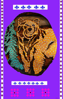 Log Cabin Art Mixed Media - Brown Bear In My Cabin by Robert Margetts