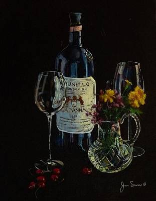 Italian Wine Painting - Brunello And Crystal by James Scrivano