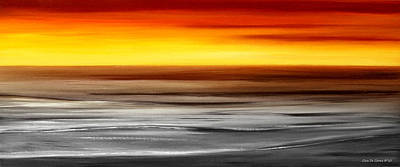 Brushed 777 - Panoramic Sunset Print by Gina De Gorna