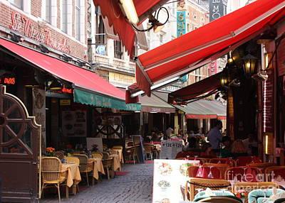 Brussels Restaurant Street - Rue De Bouchers Print by Carol Groenen