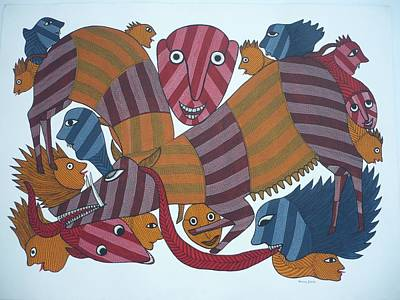 Gond Art Drawing - Bs53 by Bhajju Shyam