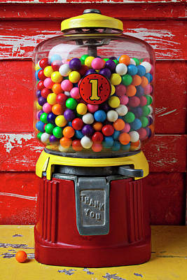 Bubblegum Machine And Gum Print by Garry Gay