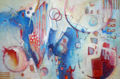 With Texture Painting - Bubbling Up - Abstract In Blues by Susanne Clark