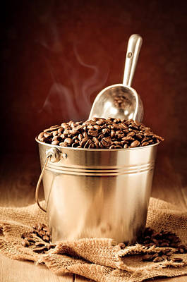 Steaming Photograph - Bucket Of Coffee Beans by Amanda And Christopher Elwell