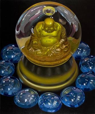 Buddha Globe With Blue Glass Print by Tony Chimento