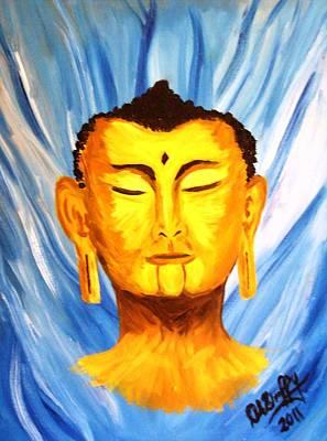Buddha On Blue Print by Deborah Duffy
