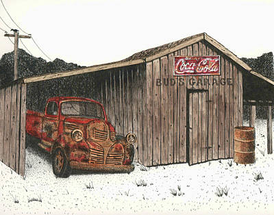 Bud's Garage Print by Mike OBrien