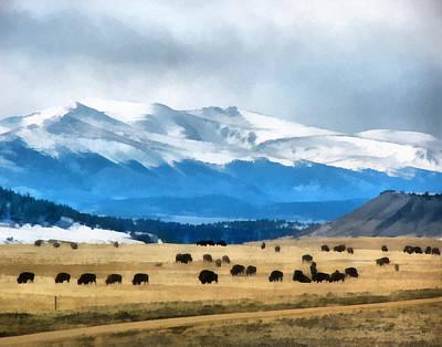 Bison Digital Art - Buffalo Herd Painterly by Ernie Echols