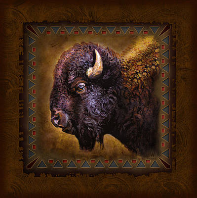 Badlands Painting - Buffalo Lodge by JQ Licensing