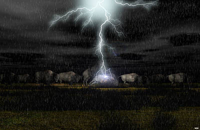Bison Digital Art - Buffalo Storm by Walter Colvin