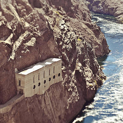 Building Built Into River Valley Cliff Print by Eddy Joaquim