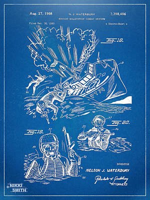 Bulletproof Patent Artwork 1968 Figures 18 To 20 Print by Nikki Marie Smith