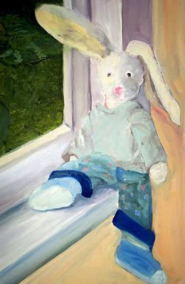Ledge Drawing - Bunny On Window Ledge by Sarah Howland-Ludwig