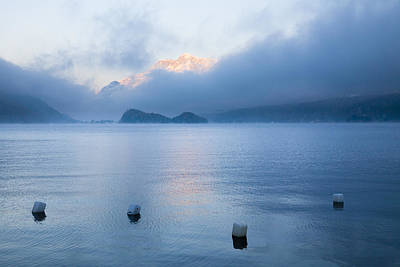 Buoys On Lake Sils, Engadin, Switzerland Print by F. Lukasseck
