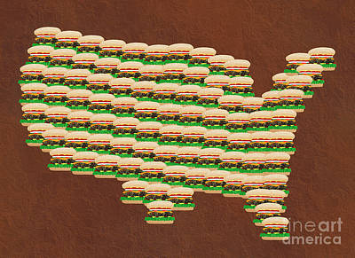 Burger Town Usa Map Brown Print by Andee Design