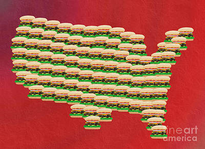 Burger Town Usa Map Red Print by Andee Design