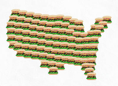 Burger Town Usa Map White Print by Andee Design