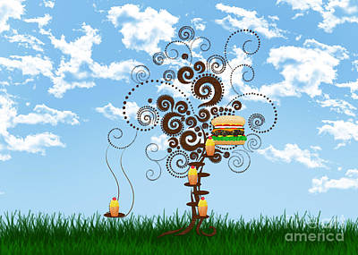 Burger Tree House And The Cupcake Kids  Print by Andee Design