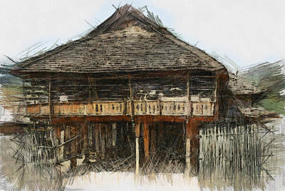 Burmese Village House 1 Print by Fran Woods