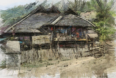 Burmese Village House 2 Print by Fran Woods