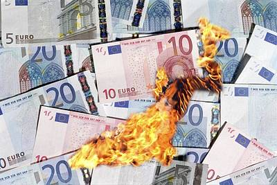 Burning Money Photograph - Burning Money, Conceptual Image by Victor De Schwanberg